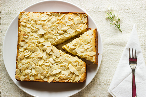 Eggless Mawa Cake Topped with Blanched Almonds | Revisiting Through The Lens Series 9