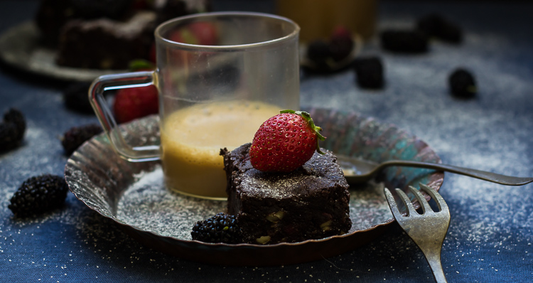 Wine Roasted Strawberry Brownies
