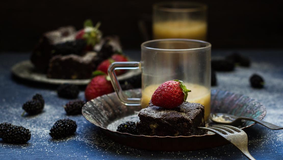 Wine Roasted Strawberry Brownies