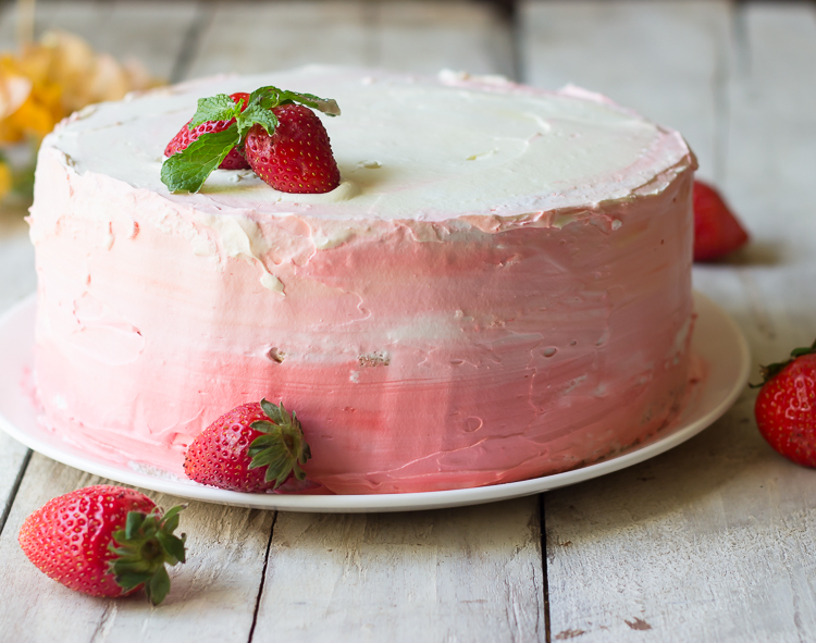 Strawberry Pineapple Ombre Cake