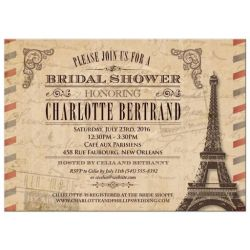 Vintage Parisian Airmail Bridal Shower Invitation