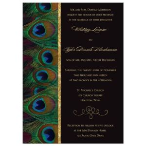 Wedding Invitation | Peacock Feathers | Black and Gold