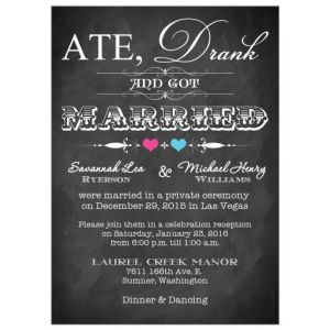 Ate Drank and Got Married Vintage Chalkboard Post-Wedding Invitation
