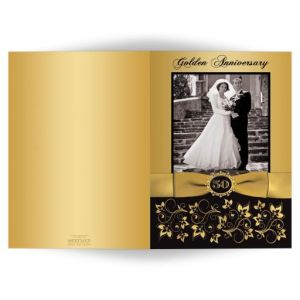 50th Wedding Anniversary Invitation | Double Photo | Black and Gold Floral | PRINTED BOW