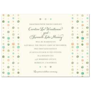 Wedding Invitation - Soft Polka Dot Columns turquoise, green and peach