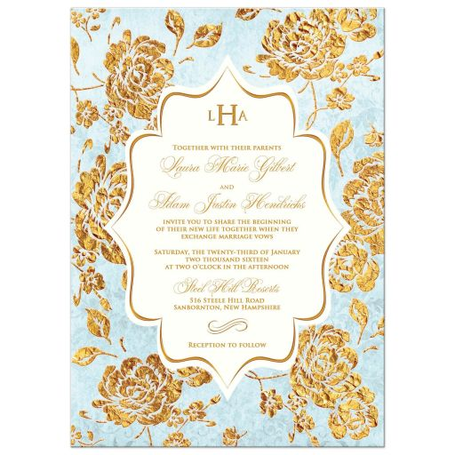 Vintage powder blue, ivory and gold rose floral wedding invite