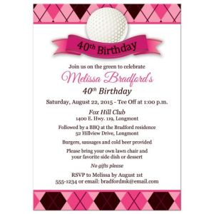Pink Argyle Golf Themed Women's 40th Birthday Party Invitation