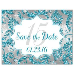 Winter Wonderland Turquoise, Silver Faux Glitter Quinceañera Save the Date Card