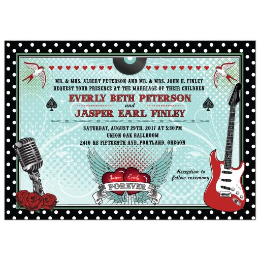 Wedding Invitation Polka Dot Rockabilly Music