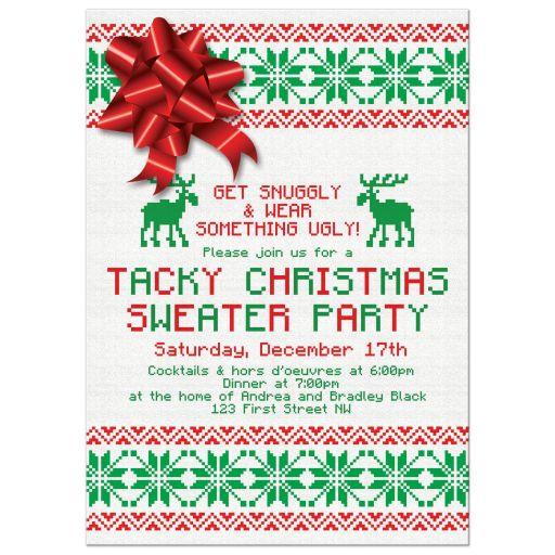Red Green Deer Bow Tacky Christmas Sweater Party Invitation