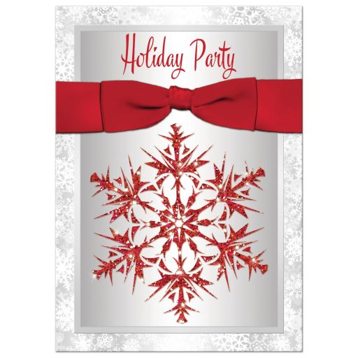 Silver Red Snowflake Ribbon Holiday Winter Party Invitation