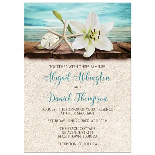 Wedding Invitations  Beach Lily Seashells and Sand