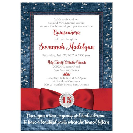 Red ribbon, diamonds and denim La Quinceañera invitation with tiara and bow