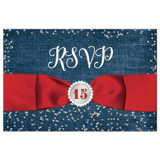 Red ribbon, diamonds and denim La Quinceañera RSVP Postcard with bow and jewel