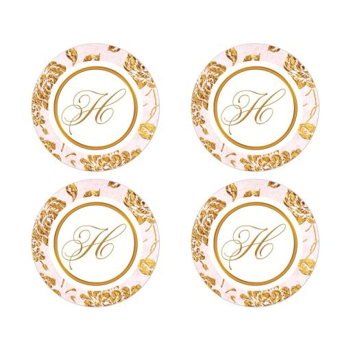 Vintage blush pink, ivory and gold rose floral monogram wedding stickers or envelope seals