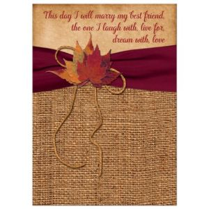 Rustic Country Wedding Invitation | Autumn Leaves on Faux Burlap, PRINTED Wine Ribbon