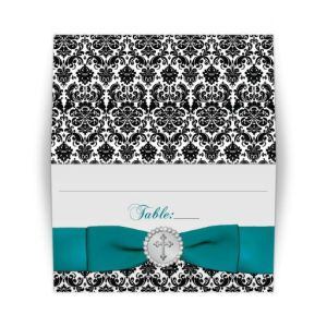 Black, White Damask Teal Ribbon, Jewels Silver Cross Folded Place Card