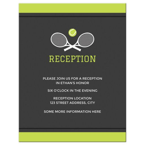 Modern Tennis Bar Mitzvah Reception card with rackets and tennis ball