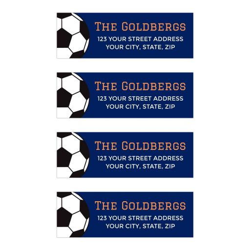 Soccer Bar Mitzvah Address Labels Navy Blue and Orange with Soccer Ball