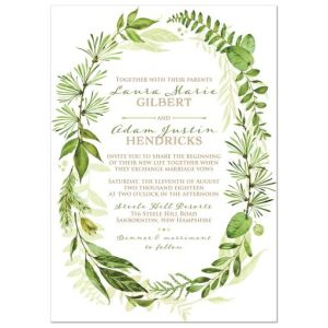 Greenery Foliage Wedding Invitation with Watercolor Leaves, Stems, Boughs, Wreath