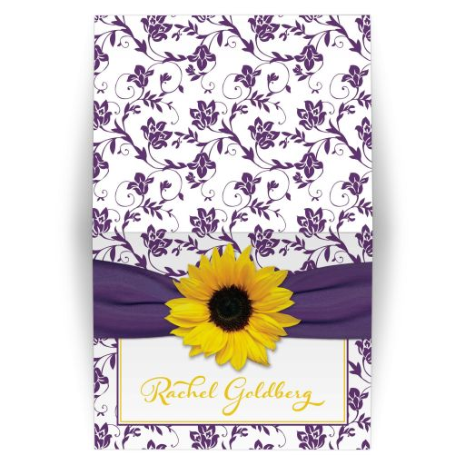 purple yellow sunflower bat mitzvah thank you card