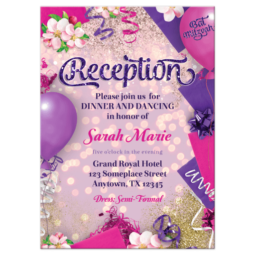 Party balloons decor pink purple Bat Mitzvah reception card