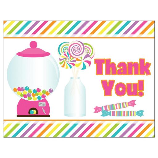 Candyland Candy Themed Bat Mitzvah Flat Thank You Cards