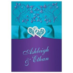 Wedding Invitation Purple, Teal Blue Floral PRINTED Ribbon/Bow, Joined Jewelled Hearts