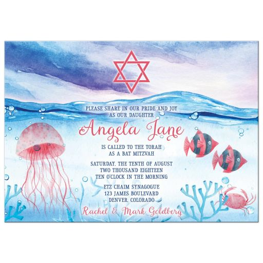 Under the Sea Bat Mitzvah invitation - Watercolor red blue ocean marine