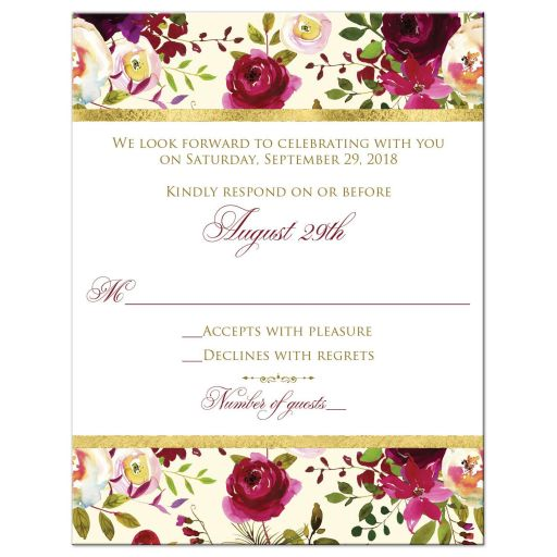 burgundy floral and feathers wedding RSVP card