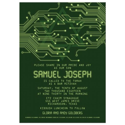High tech computer circuit board Bar Mitzvah Invitation