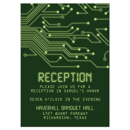 High tech computer circuit board Bar Mitzvah Reception Card