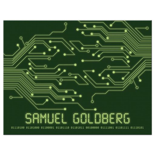 High tech computer circuit board Bar Mitzvah Thank You Card Flat