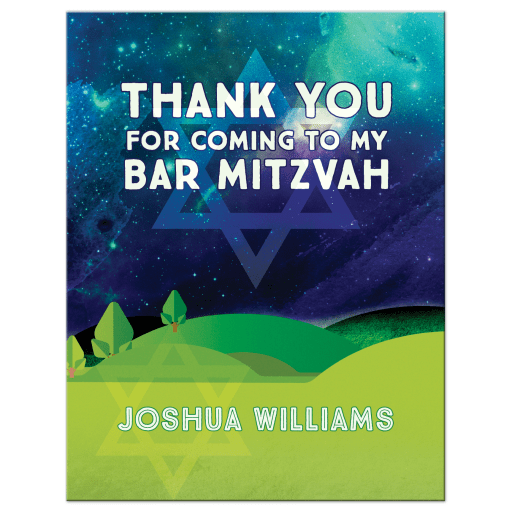 Outdoors Under the Stars Mitzvah Thank You Postcard