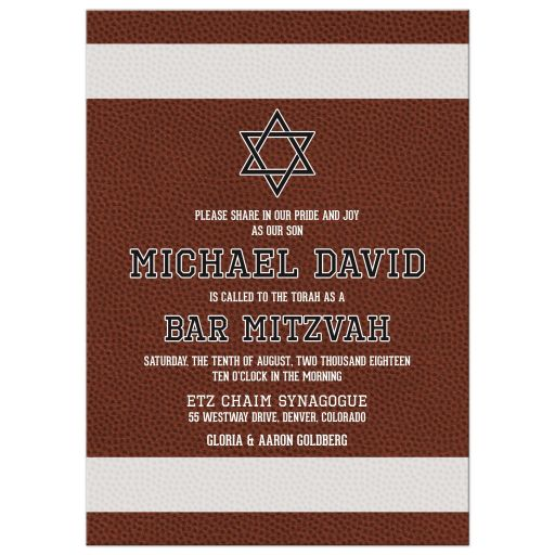 Brown green American football Bar Mitzvah invitation