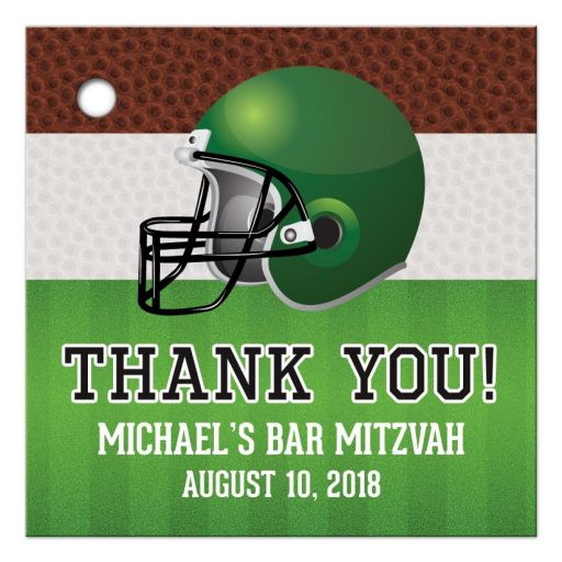 Brown green American football personalized Bar Mitzvah favor tags
