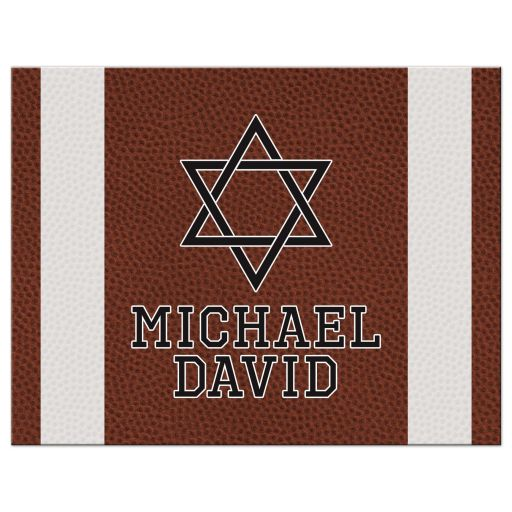 Brown green American football Bar Mitzvah flat thank you card personalized