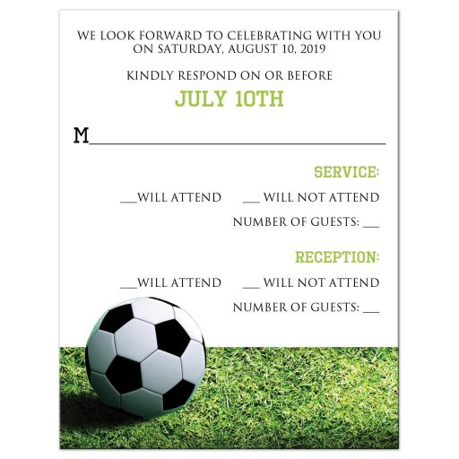 Soccer Ball on Green Grass Bar or Bat Mitzvah RSVP Card with Star of David