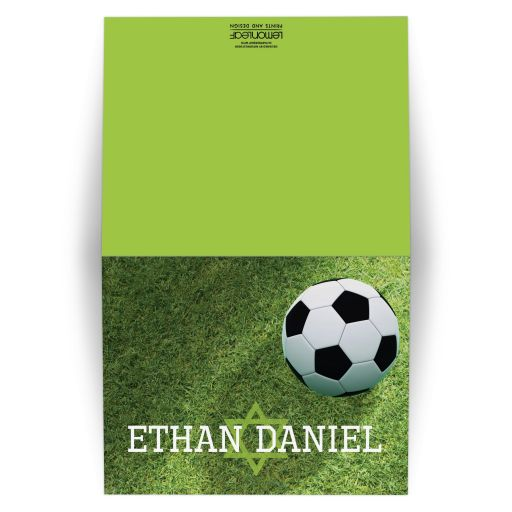 Personalized Soccer Ball on Green Grass Bar or Bat Mitzvah Thank You Card with Star of David