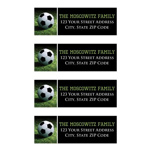 Personalized Soccer Ball on Grass Bar or Bat Mitzvah Address Labels