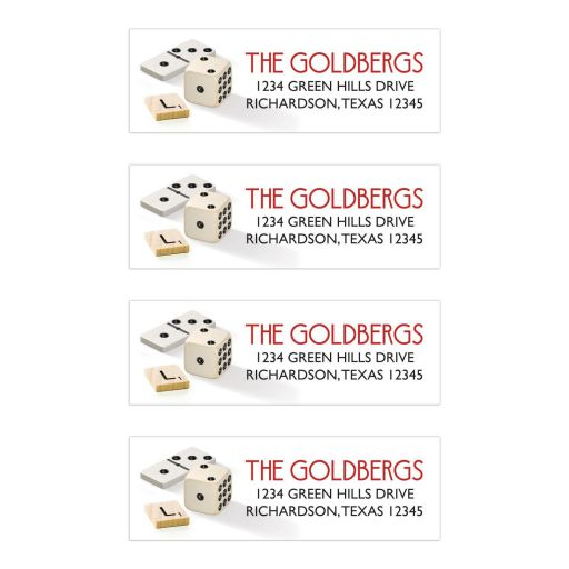 Dominoes dice scrabble board game Bar Mitzvah Bar Mitzvah return address labels