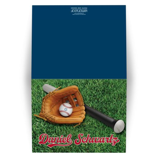 Baseball Softball Bar Mitzvah Thank You Card