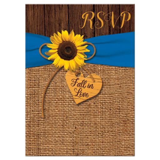 Rustic Sunflower, Faux Burlap, Printed Blue Ribbon Wedding RSVP Card