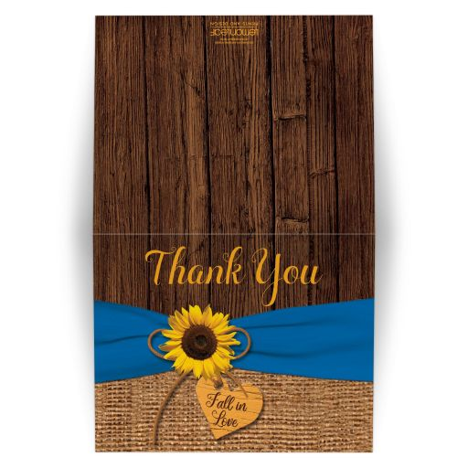 Rustic Sunflower, Faux Burlap, Printed Blue Ribbon Wedding Thank You Card