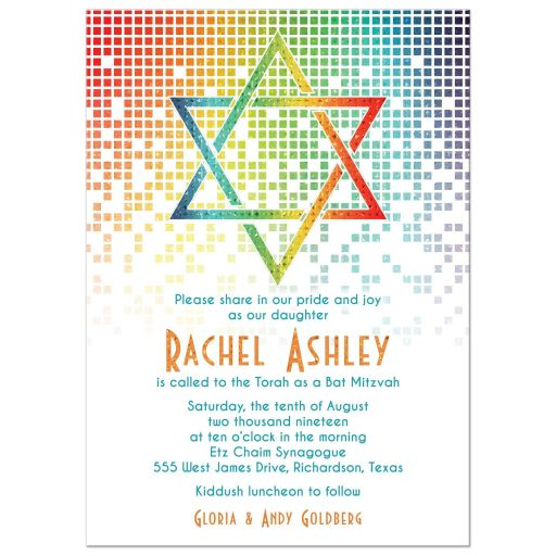 d18514e663f209 Rainbow Bat Mitzvah Invitation Cascading Pixels Star of David ...