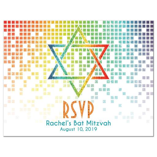 Rainbow Bat Mitzvah RSVP Postcard Cascading Pixels Star of David