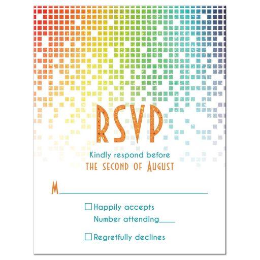 Rainbow Bat Mitzvah RSVP Card Cascading Pixels
