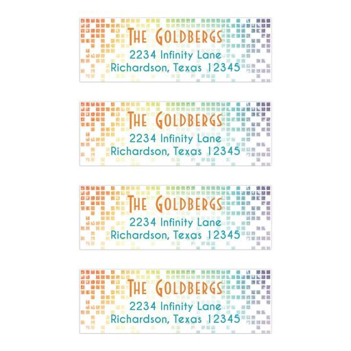 Rainbow Bat Mitzvah Return Address Labels Cascading Pixels