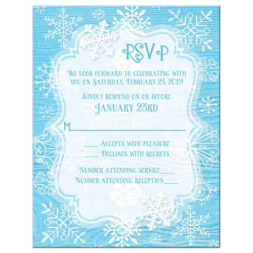 Blue white whimsical snowflake winter Bat Mitzvah RSVP card
