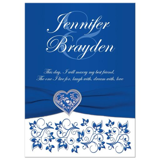 Royal Blue and White Floral Silver Heart Wedding Invitation
